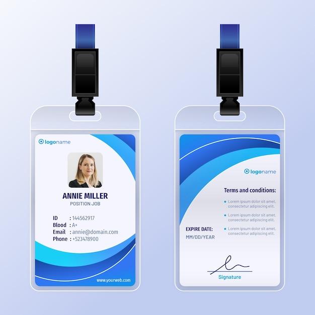 Modello astratto di carte d'identità con foto Vettore gratuito