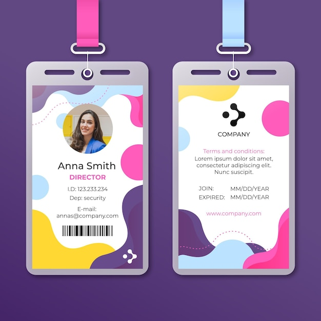 Abstract id cards template with photo Premium Vector