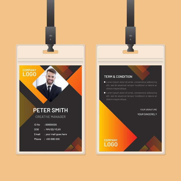 Abstract id cards theme Free Vector