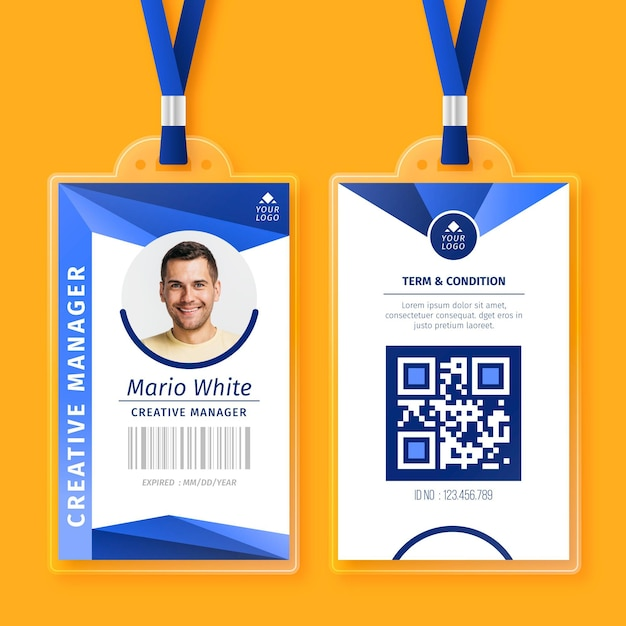 Abstract id cards with photo Free Vector