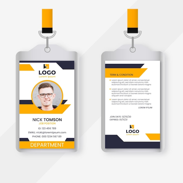 Abstract id cards with picture Free Vector