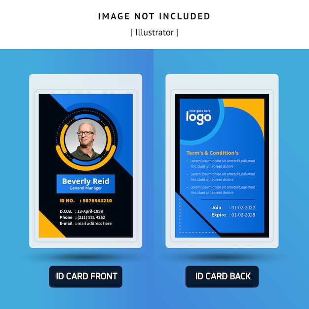 Abstract identification or id card template design for office Premium Vector