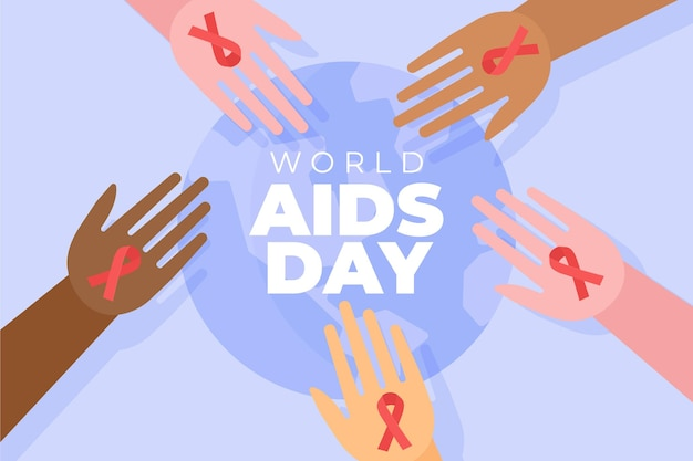 Abstract illustrated world aids day concept Free Vector