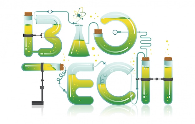 Abstract illustration of biotech word Premium Vector