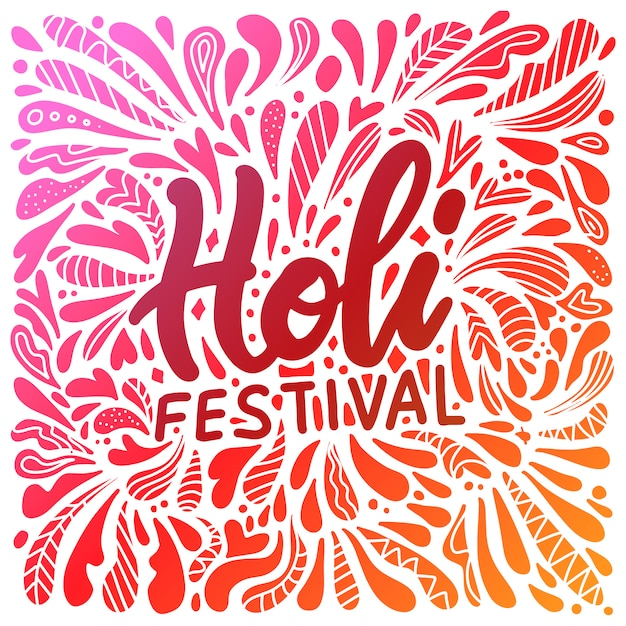Abstract illustration of colorful happy holi  for festival of colors celebration greetings with hand lettering Premium Vector