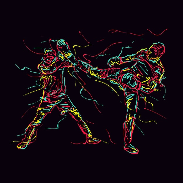 Abstract illustration of martial arts practice Premium Vector