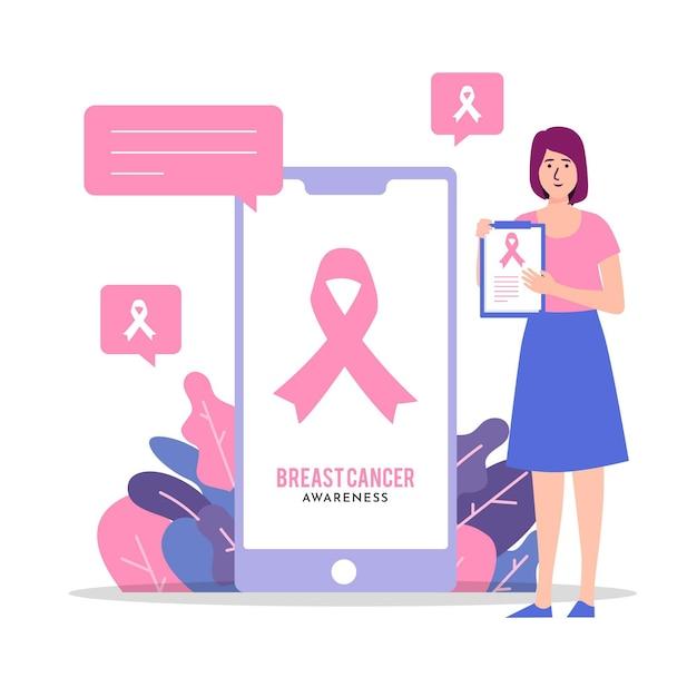 Абстрактная иллюстрация концепции осведомленности рака груди Premium векторы