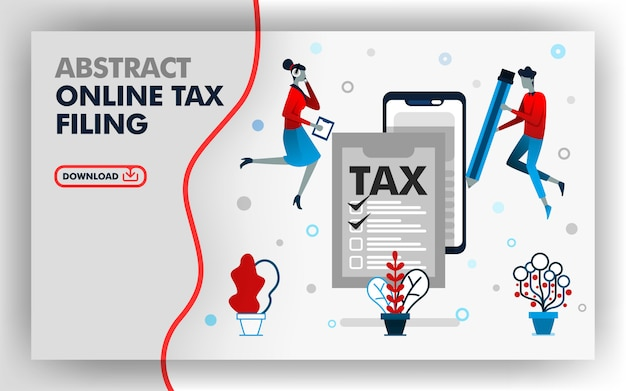 Abstract illustration online tax filing Premium Vector