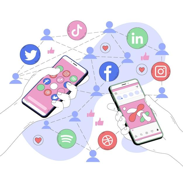 Abstract illustration of social media apps Free Vector