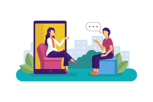 Abstract illustration of videocalling with therapist Premium Vector