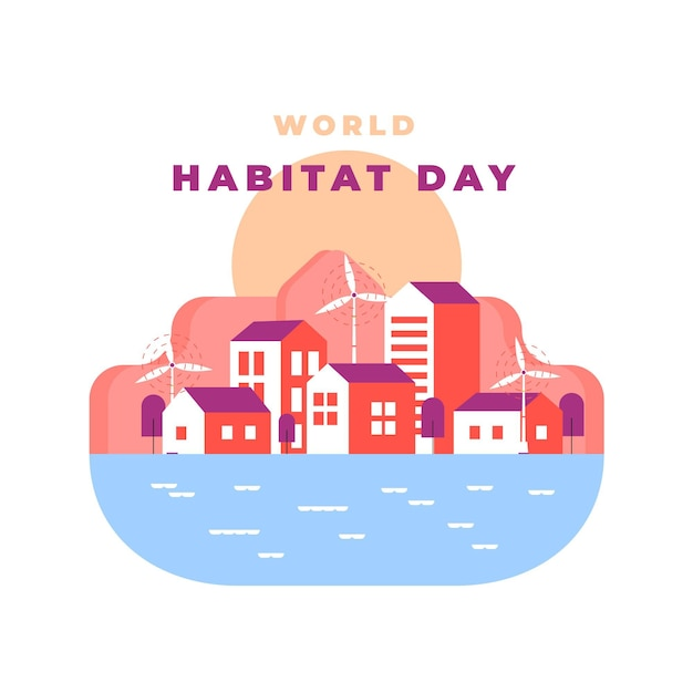 Abstract illustration of world habitat day Free Vector