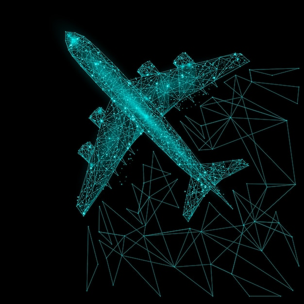 Abstract image of a airliner top view in the form of a starry sky or space, consisting of points, lines, and shapes in the form of planets, stars and the universe. Premium Vector