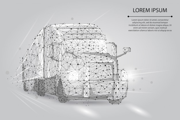 Abstract image of a truck consisting of points, lines, and shapes Premium Vector