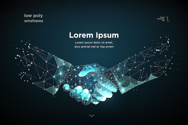 Abstract image two hands handshake in the form of a starry sky or space Premium Vector
