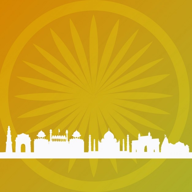 Abstract indian background with building silhouettes Vector | Free ...
