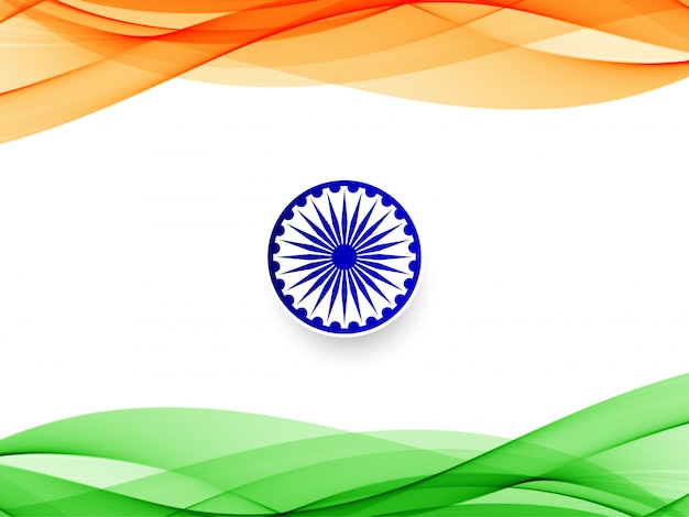 Abstract indian flag wavy  background Free Vector