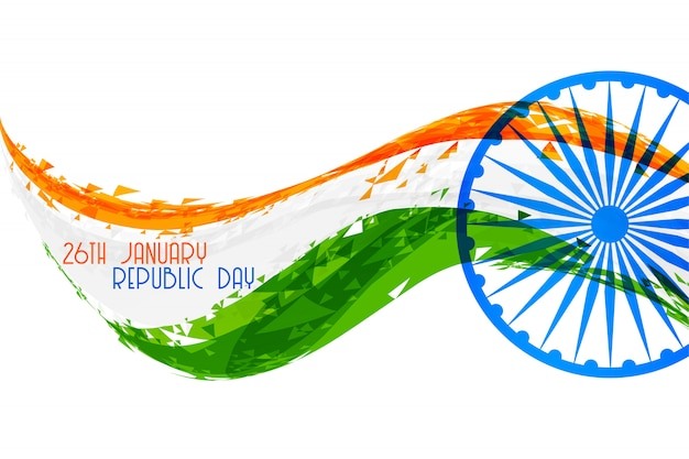 Abstract indian republic day flag banner design Free Vector
