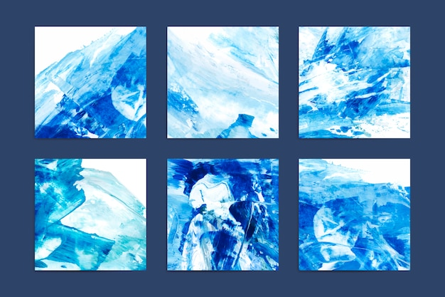 Abstract indigo paintings Free Vector