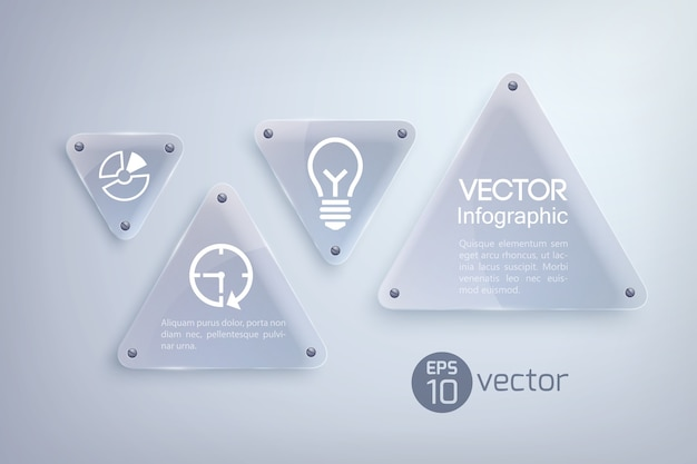 Abstract infographic design concept with glass light triangles and business icons Free Vector