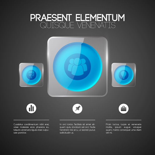 Abstract infographic design concept with text business icons blue round buttons in glass square frames Free Vector