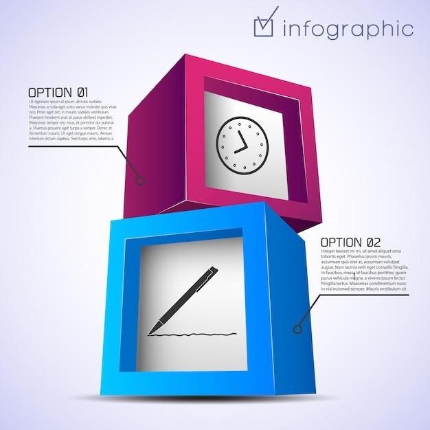 Modello astratto infografico con mattoni colorati orologio penna due opzioni Vettore gratuito