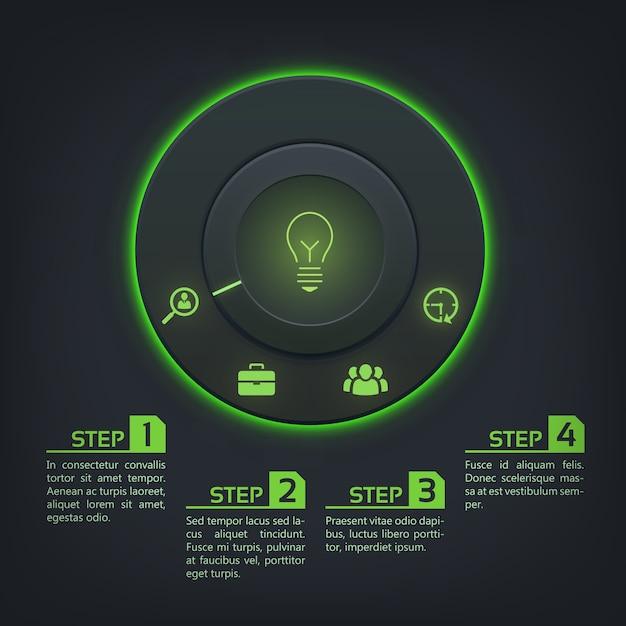 丸いボタンの緑色のバックライト4つのオプションとアイコンと抽象的なインフォグラフィックテンプレート 無料ベクター