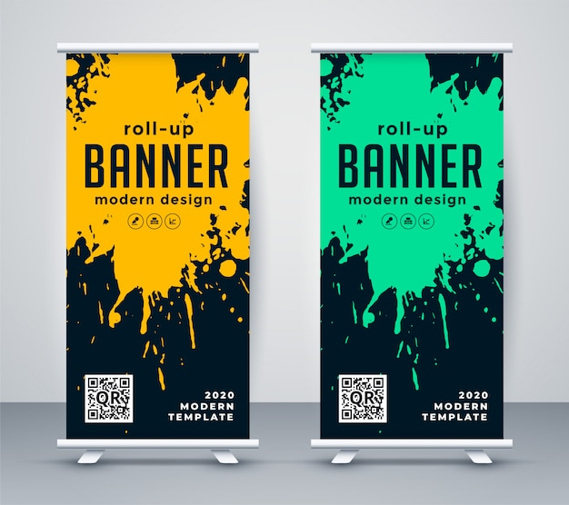 Abstract ink splash rollup banner design Free Vector