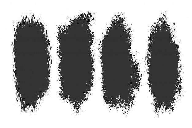 4つの抽象的なインクスプラッタグランジセット 無料ベクター