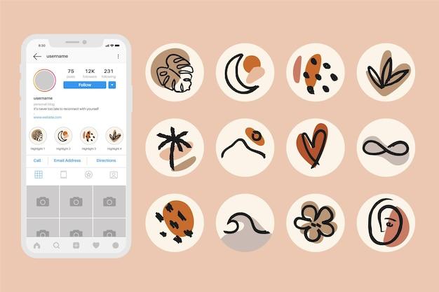 Set di punti salienti astratti di instagram Vettore gratuito