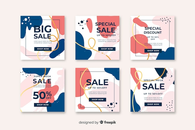 Abstract instagram post collection Free Vector
