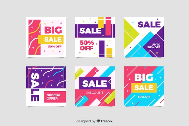 Abstract instagram sale post collection Free Vector