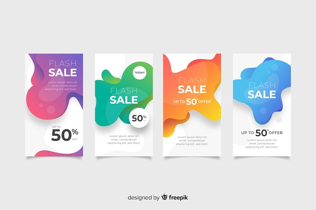 Abstract instagram sale story collection Vector   Free Download