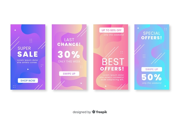 Abstract instagram sale story collection Free Vector