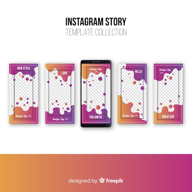 Abstract instagram stories collection Free Vector