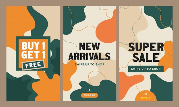 Abstract instagram stories template or flyer set for new arrivals, super sale. Premium Vector