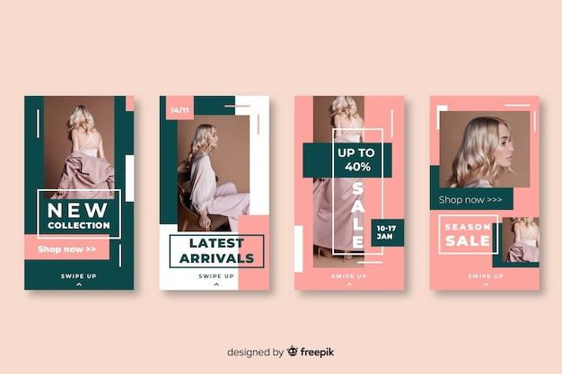 Abstract instagram stories template Free Vector
