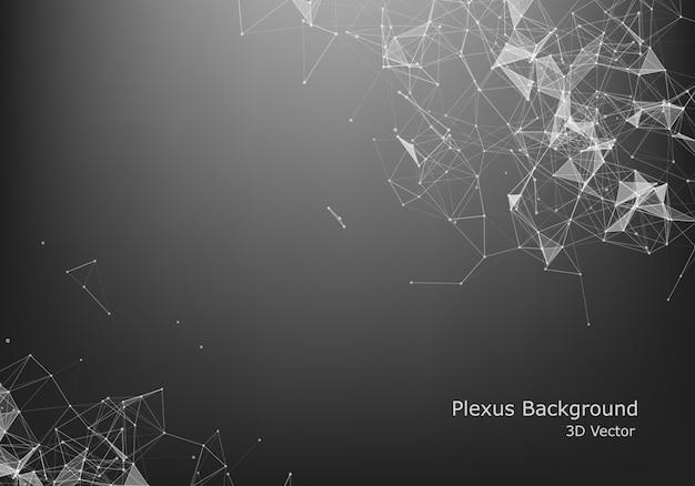 抽象的なインターネット接続と技術のグラフィックデザイン。コンピューターの幾何学的なデジタル接続構造。未来的な黒の抽象的なグリッド。粒子を持つ神経叢。 Premiumベクター