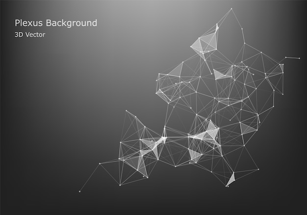 Abstract internet connection and technology graphic design. data futuristic. low poly shape with connecting dots and lines on dark background. Premium Vector