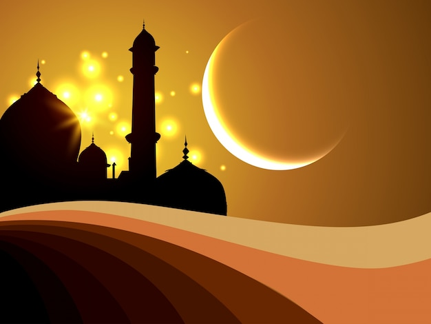 Abstract islamic background with silhouette vector free download - Islamic background wallpaper ...