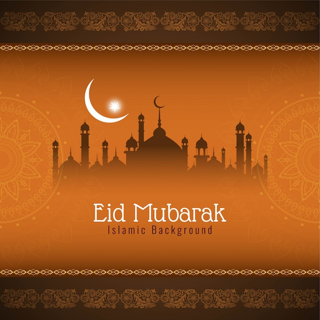 Abstract islamic eid mubarak background Free Vector