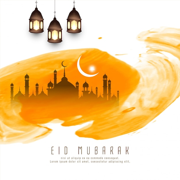 Abstract islamic festival yellow Free Vector