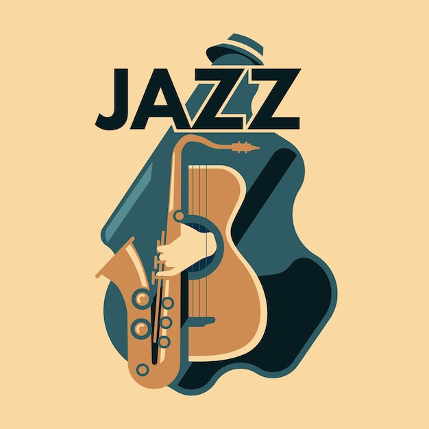 Abstract jazz art and music instrument Premium Vector