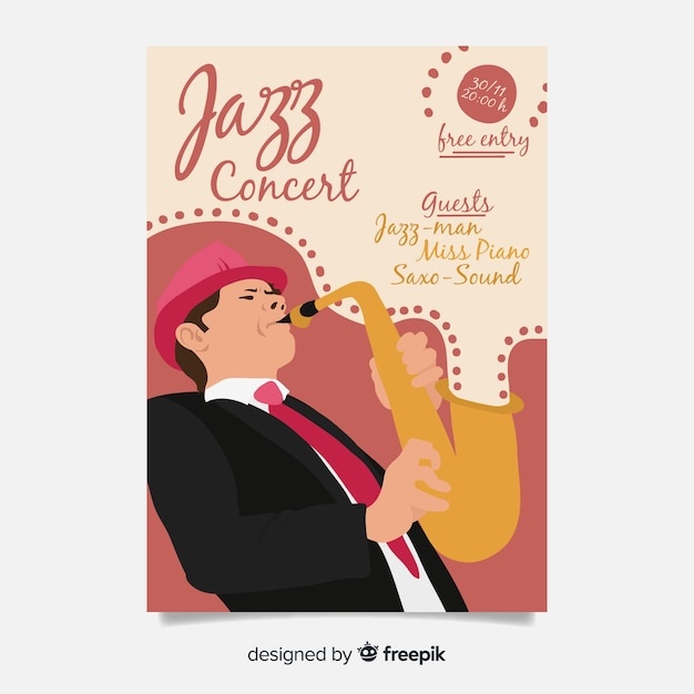 Abstract jazz music poster template Free Vector