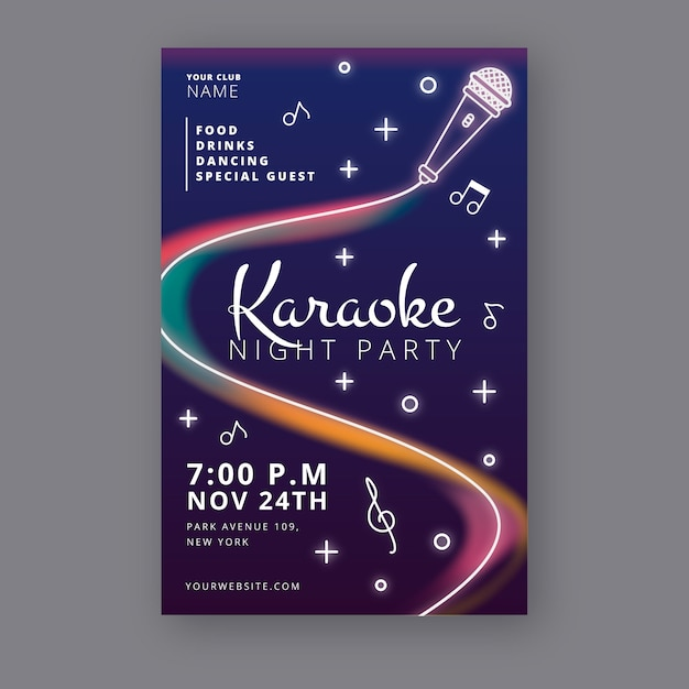 Abstract karaoke night party poster template Free Vector