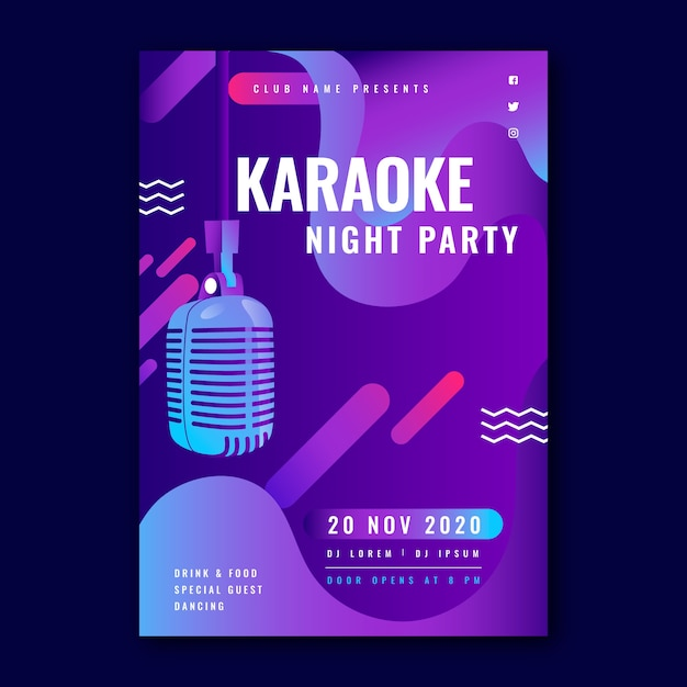Abstract karaoke party flyer template Free Vector