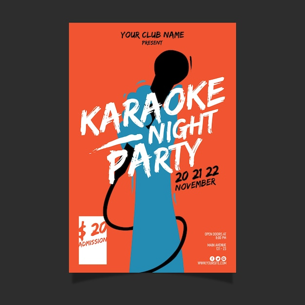 Abstract karaoke poster template Free Vector
