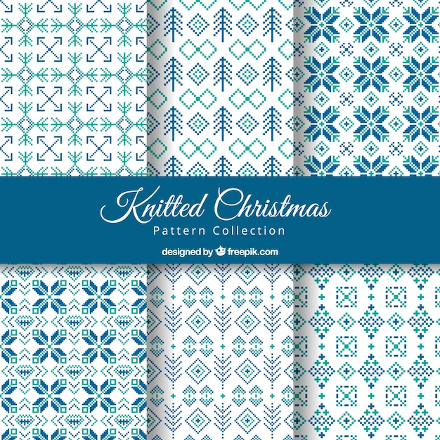 Abstract knitted christmas patterns set