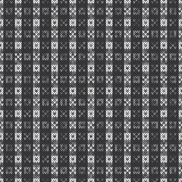 抽象的なニットパターン。灰色の色合いでシームレスな背景をベクトルします。ニットウールセーターのデザイン。 Premiumベクター