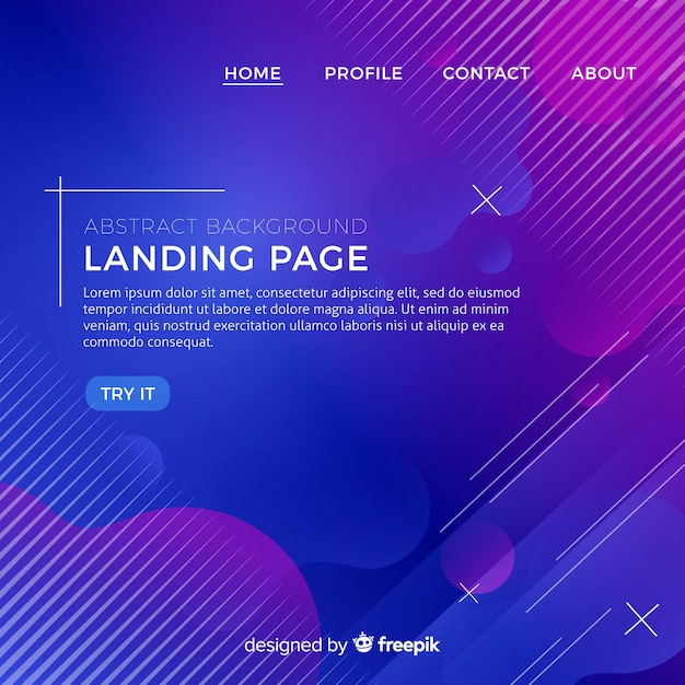 Abstract landing page background Premium Vector