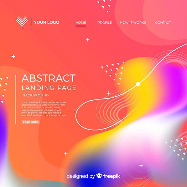 Abstract landing page background Free Vector